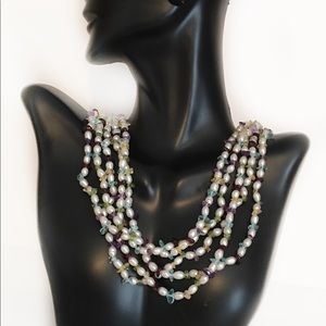 Five Strand Fresh Water Pearl & Multi Gem Necklace